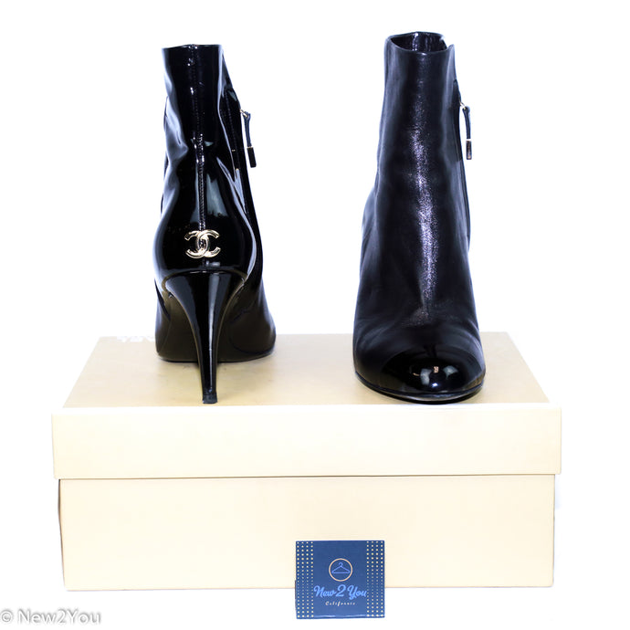 Chanel Black Leather With Patent Leather Cap Toe Bootie - New2You Lx