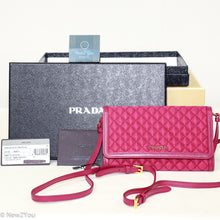 Load image into Gallery viewer, Prada Portafoglio Tracolla Quilted Crossbody Nylon With Leather- Ibisco Color- Quilted