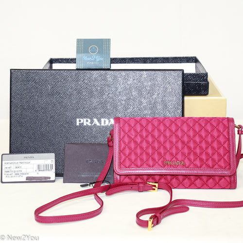 Prada Portafoglio Tracolla Quilted Crossbody Nylon with Leather- Ibisco Color- Quilted