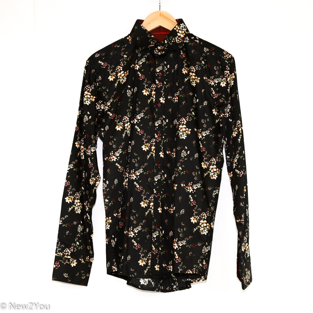 Black Floral Button Up (British Design) - New2You Lx