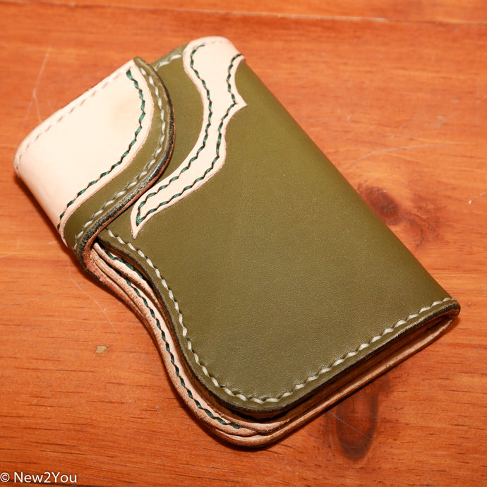 (Bweiss) Leather Wallet Olive Harness Mid-Wallet - New2You Lx