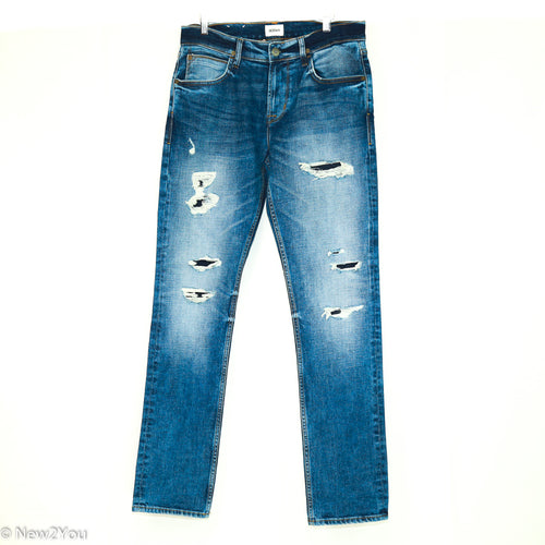 Men's Distressed Blake Slim Fit Blue Jeans (Hudson)