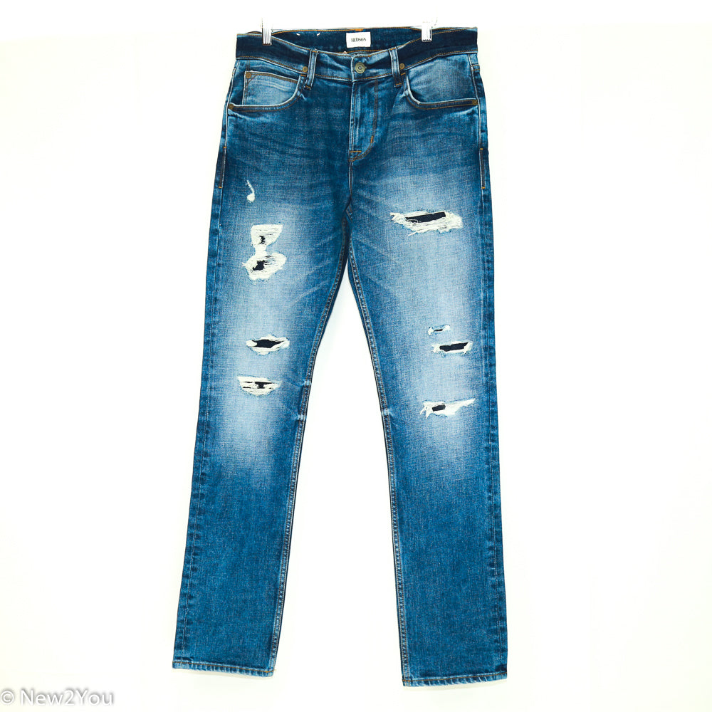Distressed Blake Slim Fit Blue Jeans (Hudson)