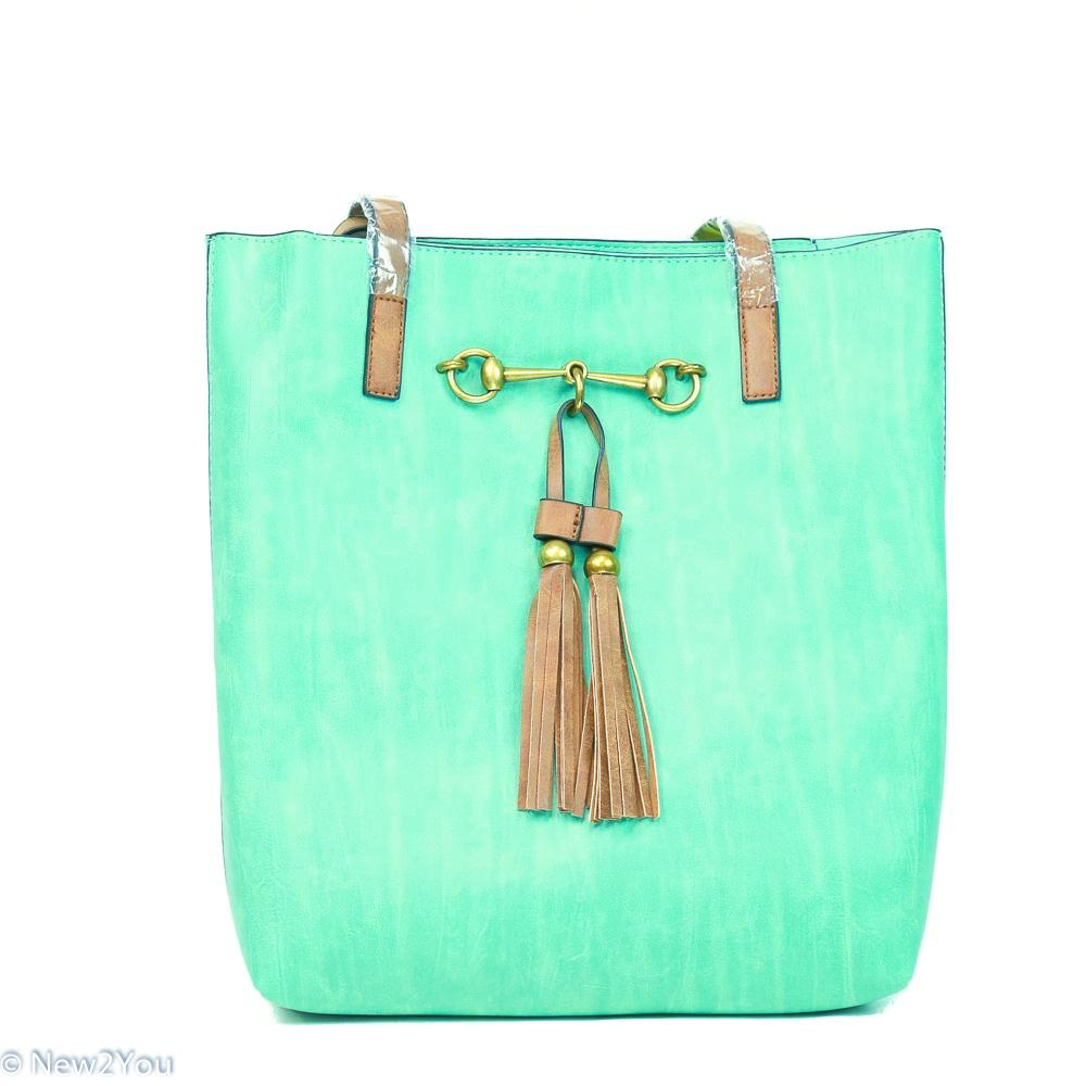Jane Turquoise Horse Bit Tote