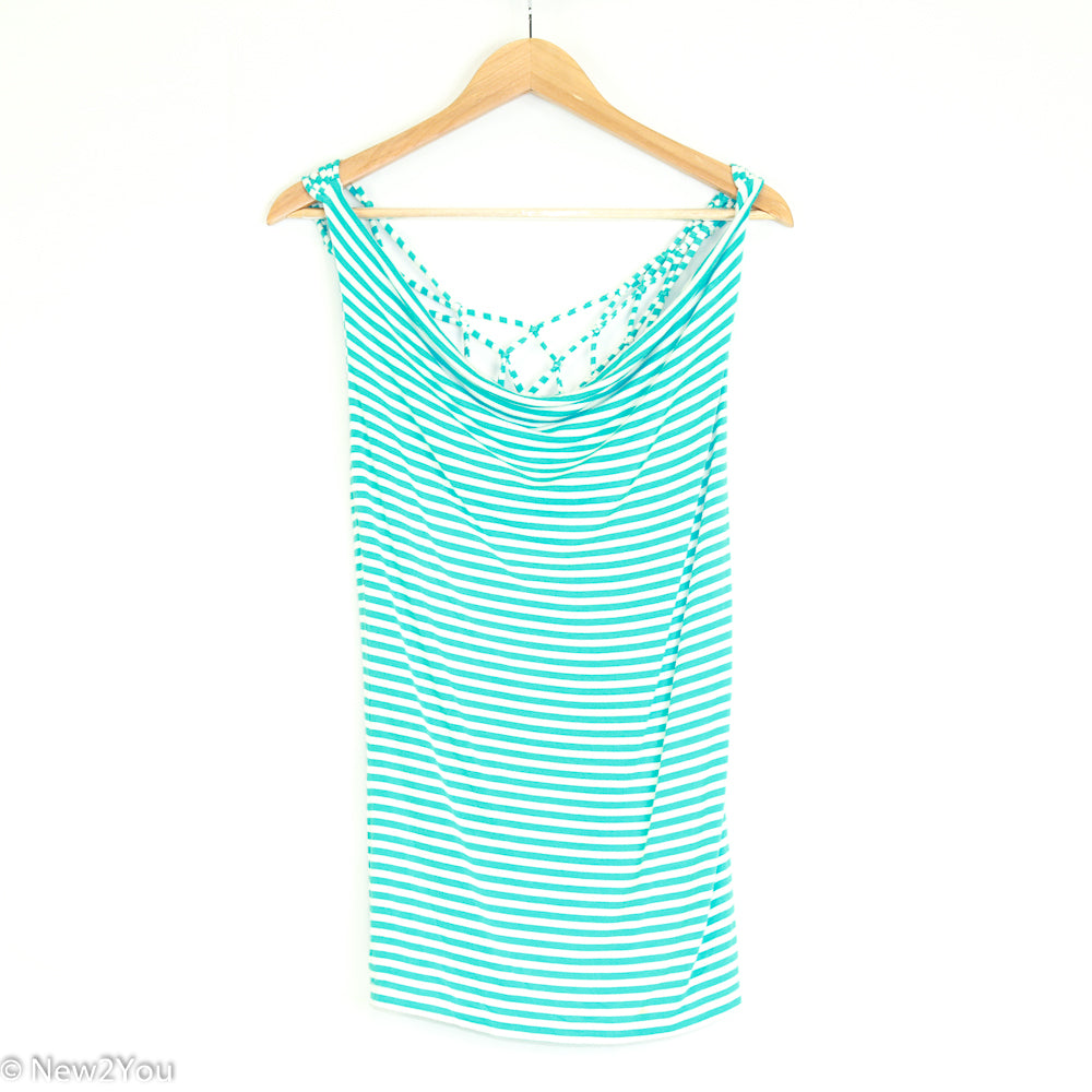 Blue And White Open Back Knot Top (Bebe) - New2You Lx