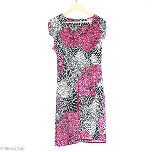 Pink/White/Black Floral Surplice Dress (Alfani) - New2Youlx