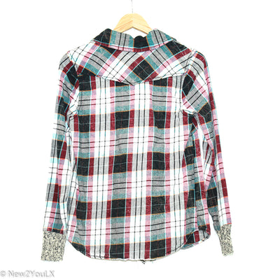 Blue/Black/Pink Knit Collar Flannel (BKE)