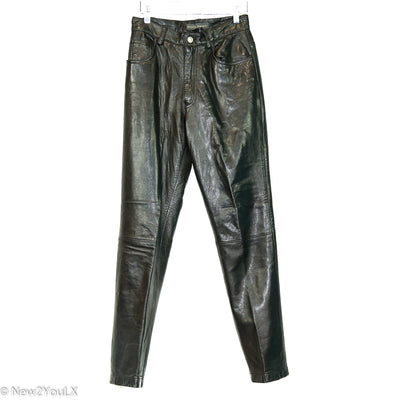 Black Leather High Waist Pants (BR) new2you lx