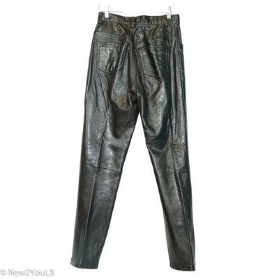 Black Leather High Waist Pants (BR)