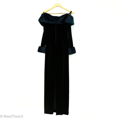 Blue Velveteen Off The Shoulder Gown (Tadashi) new2you lx