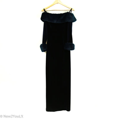 Blue Velveteen Off The Shoulder Gown (Tadashi)