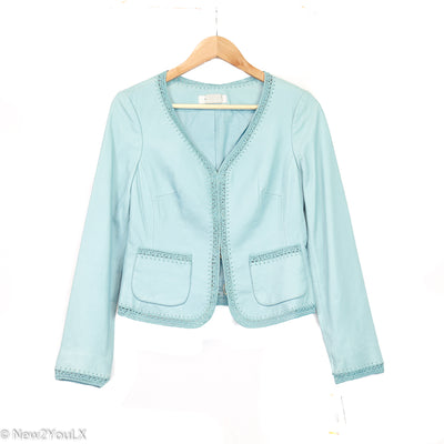 Nine West Pastel Blue Crochet Leather Jacket