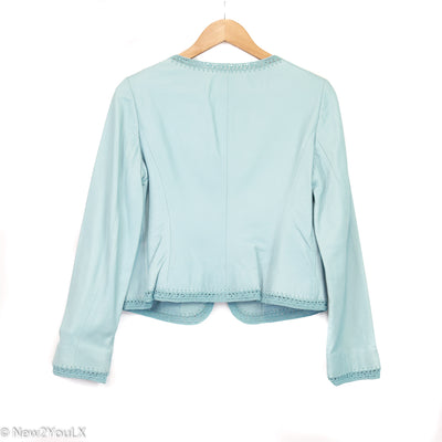 Pastel Blue Crochet Leather Jacket (Nine West)