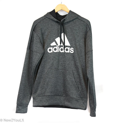 Adidas Black and Grey Printed Hoodie