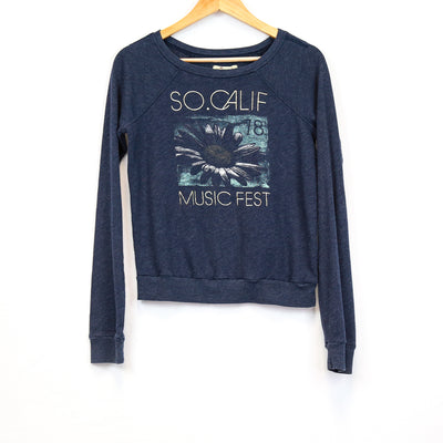 Hollister Navy/Gold Graphic Print Crewneck Sweater