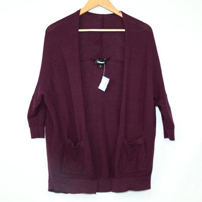 Express Plum Ribbed Open Cardigan  New2YouLX