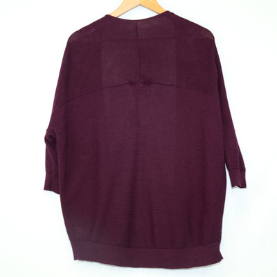 Express Plum Ribbed Open Cardigan (Express)