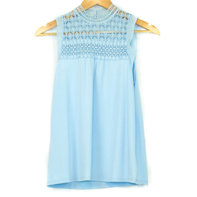 Light Blue Lace Collar Blouse (Express)