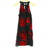 Francesca's Black High Neck Floral Print Dress
