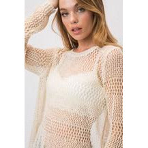 LIGHT SEE THRU KNIT OPEN BACK SWEATER