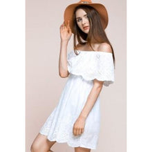 Load image into Gallery viewer, OFF THE SHOULDER CINCHED WAIST 3/4 SLEEVE CRESCENT MOON CUT DRESS