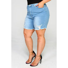Load image into Gallery viewer, High Waist Distressed Shorts (BBA)