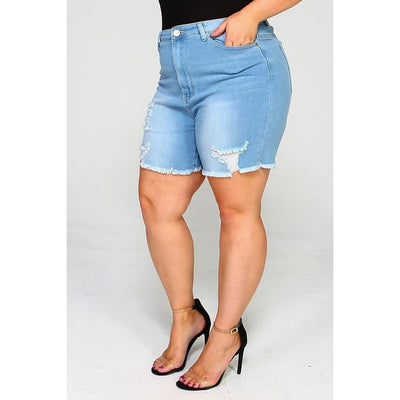 High Waist Distressed Shorts (BBA)