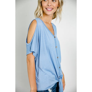 Cold Shoulder Button Down Blouse (E LUNA)