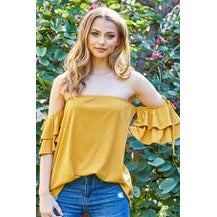 Off-The-Shoulder Mustard Knit Top (White Birch) - New2Youlx