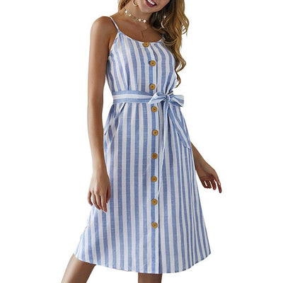 Striped Midi Button Up Dress (Showa)