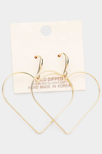 Gold Dipped Open Heart Earrings