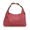 Raspberry Red Canvas X Leather Horsebit Hobo Shoulder Bag