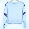 Express Grey Blue Stripe Crop Pullover