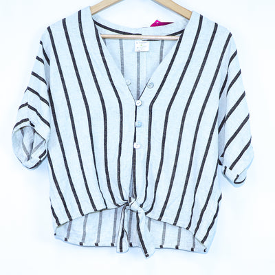 By Together Tan & Blue Striped Tie Waist Blouse