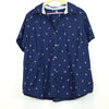 Basic Editions Women's Blue Anchor Button Up