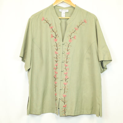 Dressbarn Muted Green Embroidered Tunic