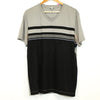 Calvin Klein Grey Striped V-neck T-shirt