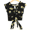 Xhilaration Black Floral Babydoll Crop Top
