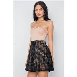 BLACK & NUDE LACE ILLUSION FIT AND FLARE STRAPLESS DRESS - New2You LX