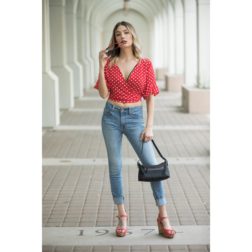 Polka Dot V-Neck Mid Bell Sleeve Blouse With Tie On Back