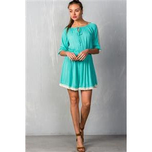 Boho Mint Elastic Waist Shirt Mini Dress - New2You Lx
