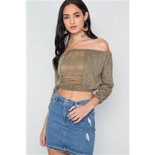 Load image into Gallery viewer, Olive Boho Crochet Long Sleeve Knit Crop Top