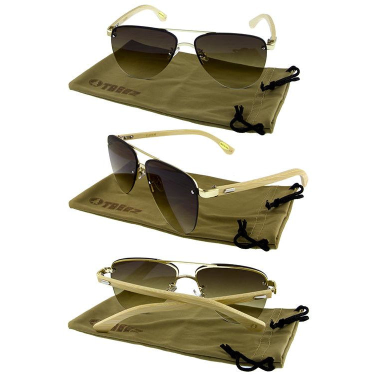 Unisex Bamboo Wooden Aviator Sunglasses (New 2 You Lx) - New2Youlx