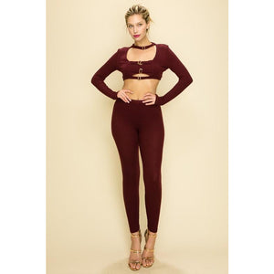 Belt Strap Detail Rib Knit Set in Burgundy with Gold Hardware - New2You LX