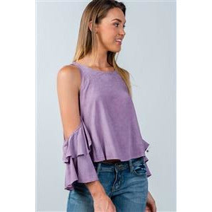 Washed Orchid Open-Shoulder Batwing Top