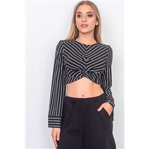 Black Front Waist Twist Wide Sleeve Crop Top - New2You Lx