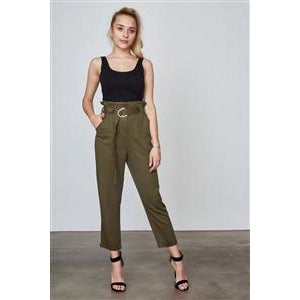 OLIVE FRILL WAIST BELTED CUFFED HEM PANTS