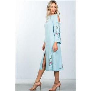 BLUE TIE-BACK AND SLEEVES WITH SPLIT FRONT MIDI DRESS - New2You LX