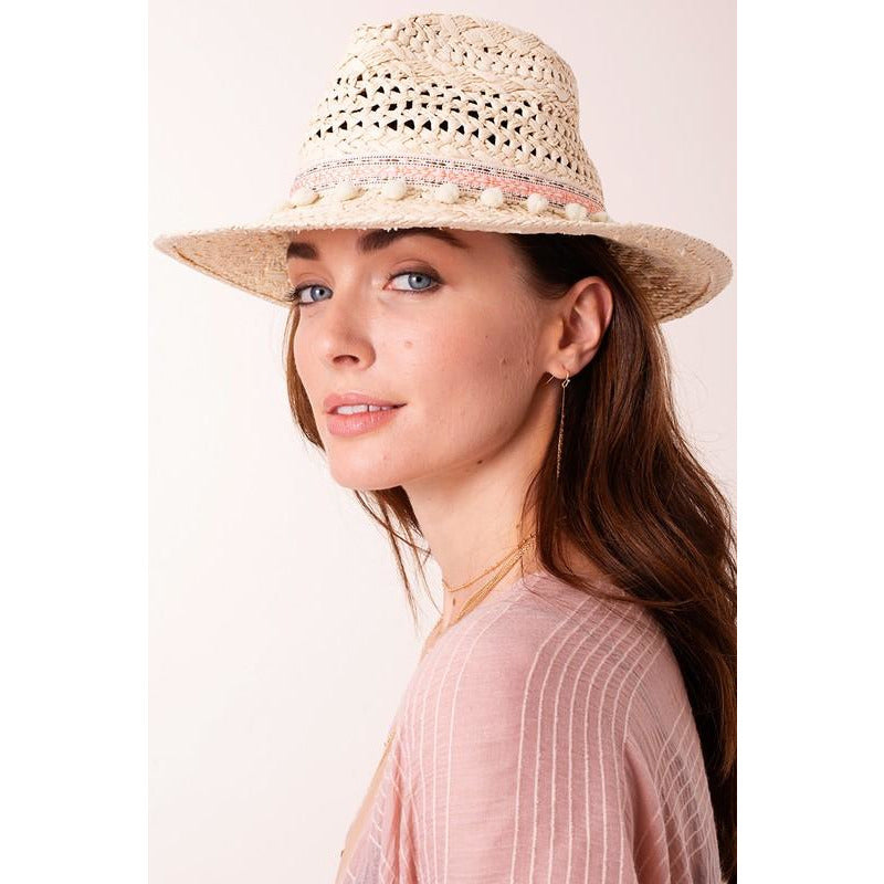 Straw hat with colorful band