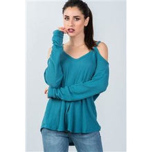Load image into Gallery viewer, TEAL HIGH LOW COLD SHOULDER TOP